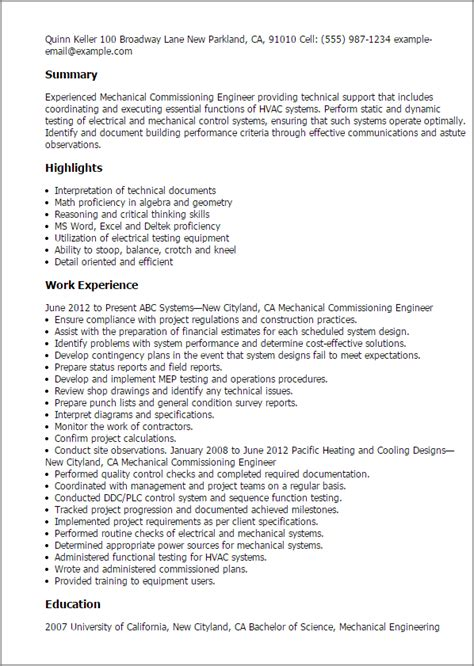 Mechanical Commissioning Engineer Cover Letter by Professional Mechanical Commissioning Engineer Templates To Showcase Your Talent Myperfectresume