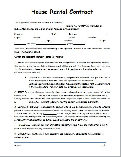 contract rental agreement template house rental contract template for word document templates