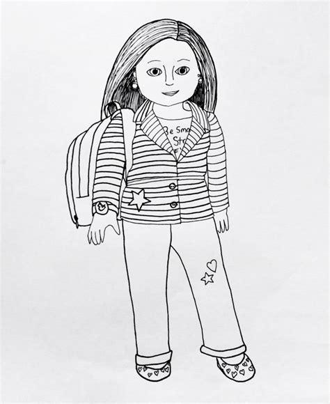 american girl grace thomas coloring page free printable free printable american girl doll brings school bag