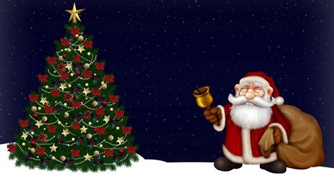 santa claus with tree images wallpaper 1920x1080 santa claus tree bell