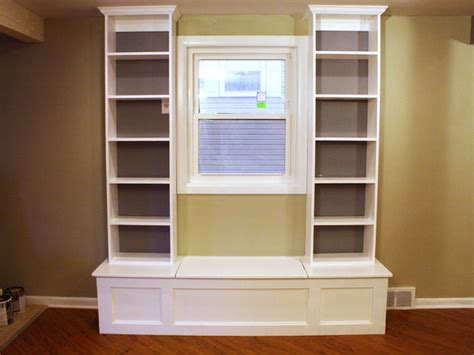 how to build a window seat with bookshelves window bench seat storage plans woodideas