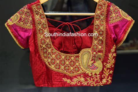 Full House Design Studio Hyderabad peacock design maggam work blouse south india fashion