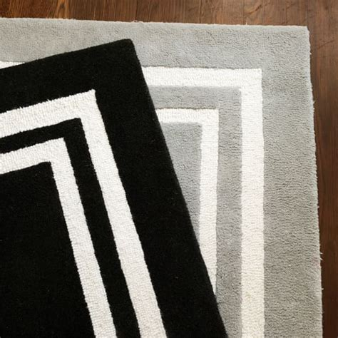 black rug with white border decorator border rug black pbteen