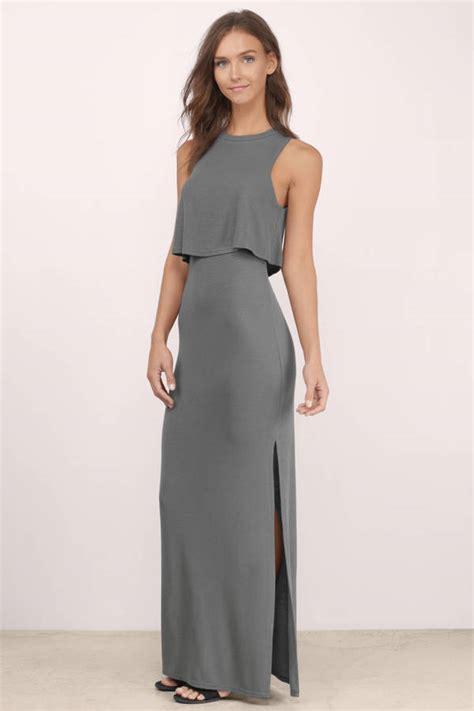 Dress Grey grey maxi dress grey dress high neck dress grey maxi