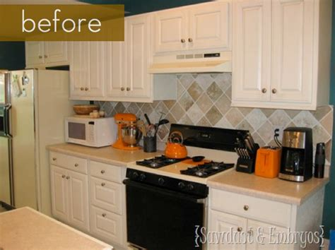 painting kitchen backsplash before and after painted tile backsplash curbly
