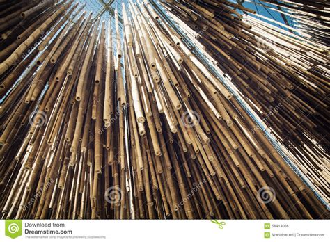 hanging from the ceiling bamboo decoration hanging from the ceiling stock photo