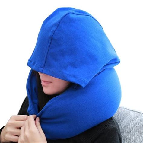 The Luxe Travel Pillow U Neck Blue u shaped pillow hat pillow portable nap travel neck pillow blue