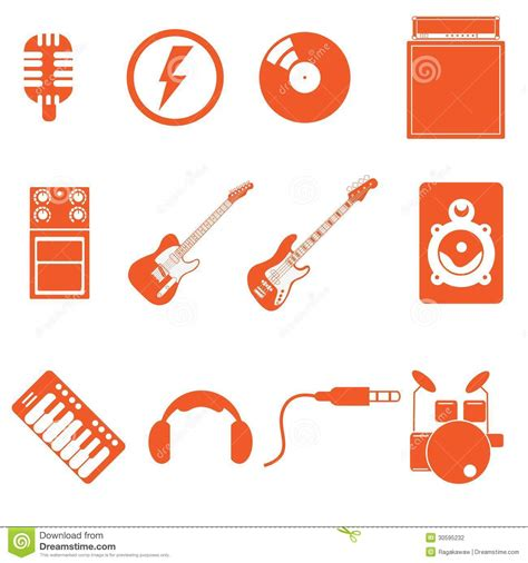 nice orange color band play icon music with nice orange color style stock