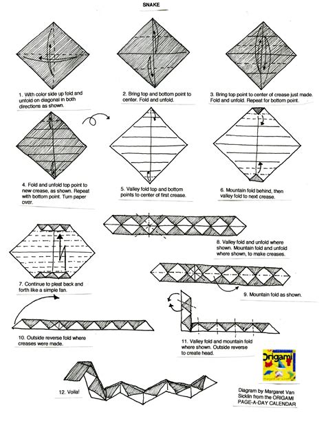 How To Make An Origami Snake - zodiac origami diagrams for the 12 animals in the