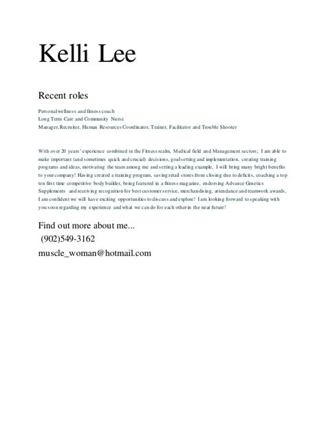 Health And Wellness Director Cover Letter by Kelli Cover Letter