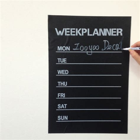 Calendar Vinyl Diy Week Planner Chalkboard Calendar Vinyl Wall Decal