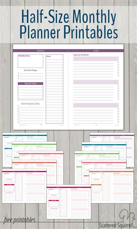 free printable mini budget planner half size monthly planner printables