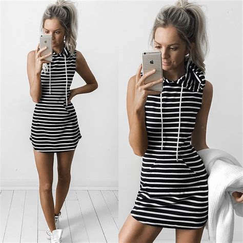 Sy1glsab74 Simple Casual Black White Dress Size S Size M Size L striped black and white casual dress