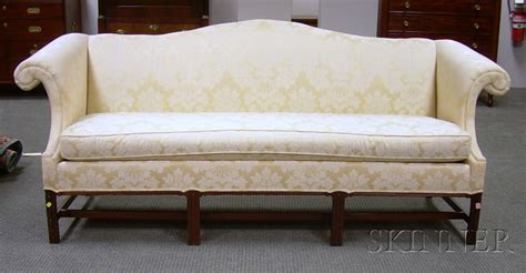 Clyde Pearson Sofa by Clyde Pearson Chippendale Style Damask Upholstered Camel