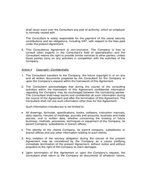 Sle Consultancy Agreement Free Download Consultancy Agreement Template Uk