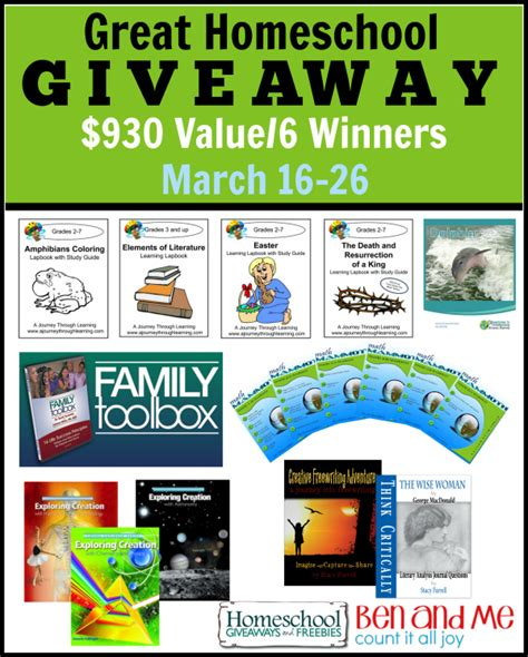 huge homeschool giveaway 6 winners grand prize 465 value - Homeschool Giveaway