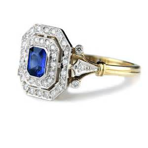 Cut sapphire and diamond engagement ring unique wedding rings