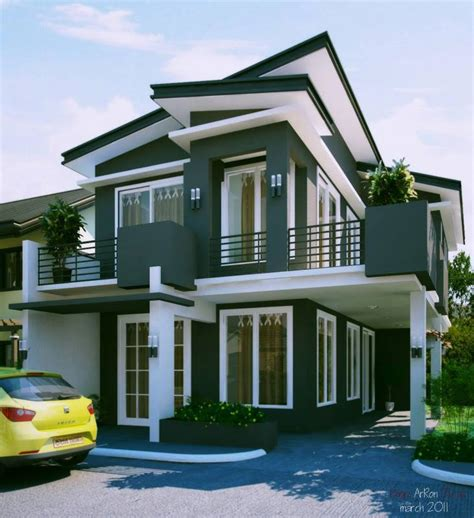 modern two storey house with streamline roof 28 sloped roof bungalow font elevations collection 1