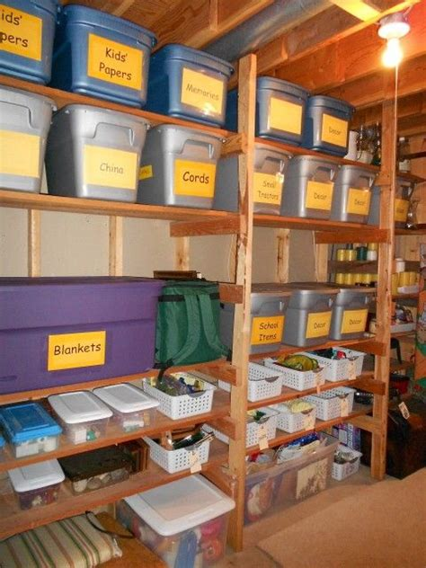 storage room practical storage for an unfinished basement large readable signs labels diy unfinished
