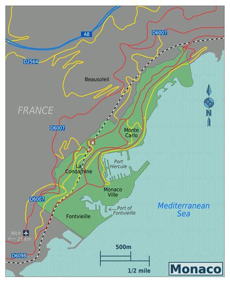 monaco europe map large map of monaco with roads monaco europe