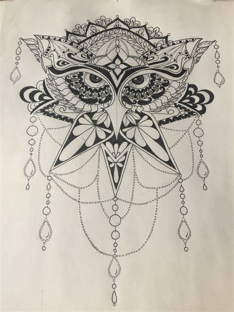 pen and ink tattoo owl pen black and white mandala style or