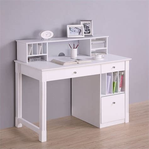 Solid Wood Desk With Hutch In White Dw48d30 Dhwh Solid Wood Computer Desk With Hutch