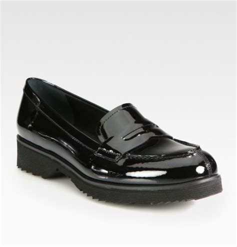 black patent loafers prada patent leather loafers in black lyst