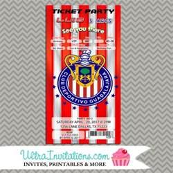 club chivas guadalajara futbol soccer birthday invitations