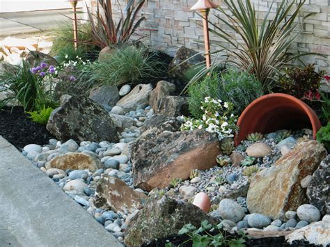 River Rock Garden Ideas Brick Outdoor Fireplace Landscape Traditional With Front