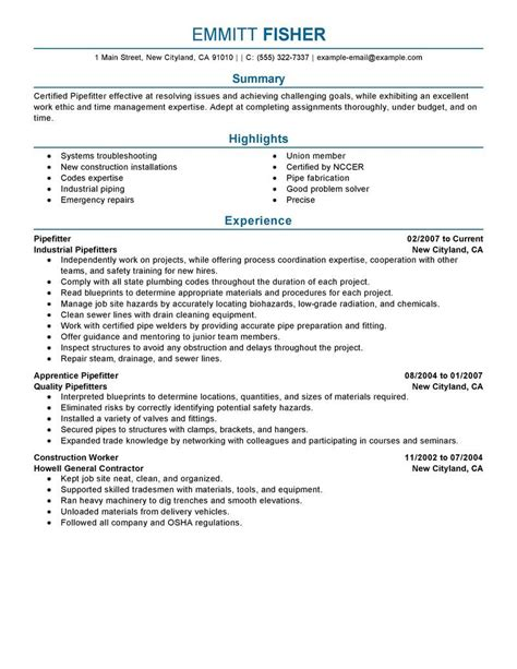 Resume Sles In Excel pipefitter resume sles 28 images best pipefitter
