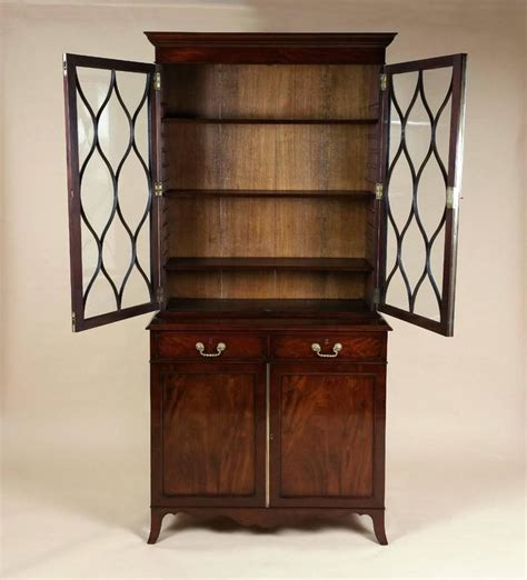 George Iii Mahogany Bookcase With Astragal Glazed Doors At Mahogany Bookcase With Doors