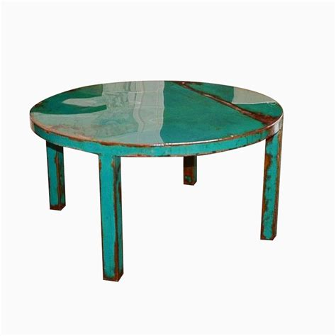 Personalized Wedding Jewelry Hand Made Custom Round Metal Coffee Table Art With Beautiful Turquoise And Jade Green Paint