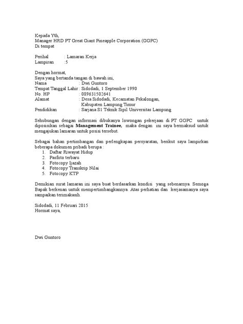 Contoh Surat Lamaran Kerja Teknik Sipil