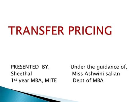Transfer Pricing Mba Notes by Transfer Pricing