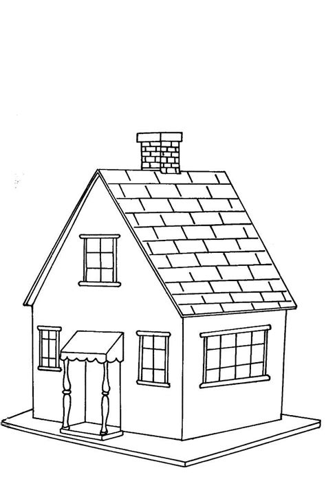 a coloring page of a house coloring pages house picture 4