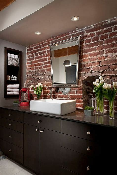 superior Small Powder Room Decor #8: 15-exposed-brick-backsplash-for-the-modern-industrial-bathroom.jpg