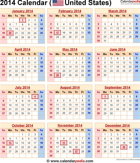 2014 Us Calendar 2014 Calendar With Federal Holidays Excel Pdf Word Templates