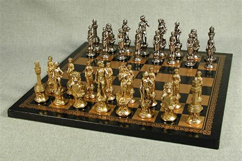 metal chess set florencethemed chessmen on black pressed leather chessboard