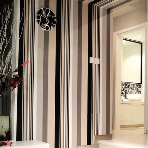 black and white washable wallpaper black and white striped pvc wallpapers for waterproof and