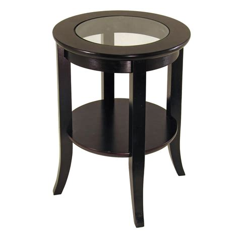 winsome genoa end table glass inset one shelf by oj
