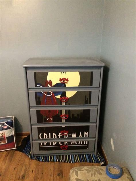 How To Modge Podge A Dresser by New Modge Podge Spider Dresser Boys Room