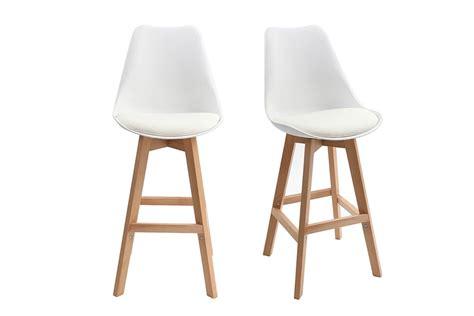 tabouret de cuisine pauline white and wood modern bar stools 65cm set of 2 miliboo