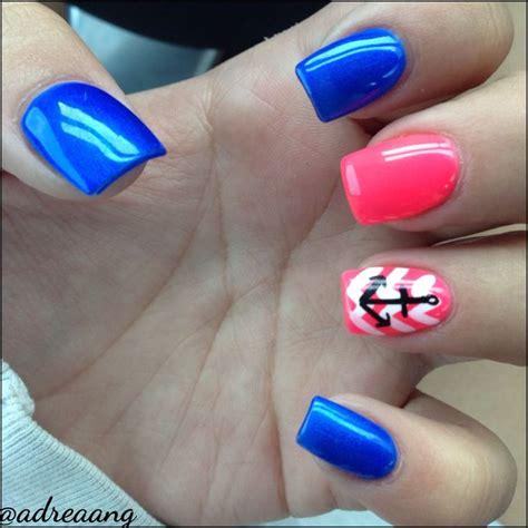 summer acrylic nail designs with anchor colorful nails acrylic nails nail designs anchor and