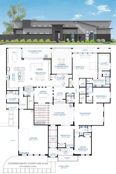 courtyard floor plans contemporary courtyard house plan courtyard house plans
