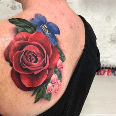 emma rose tattoo floral on shoulder blade best ideas gallery