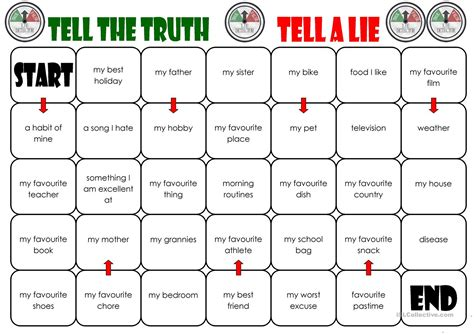 Or Printables Tell The Tell A Lie Board Worksheet Free Esl Printable Worksheets Made By Teachers