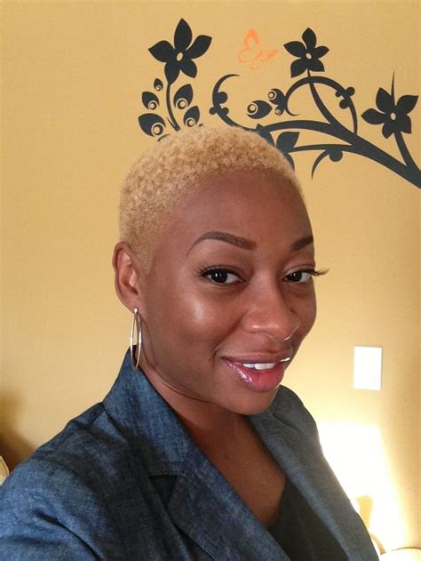 black women with shaved haircuts and color me clairol textures tones lightest blonde short