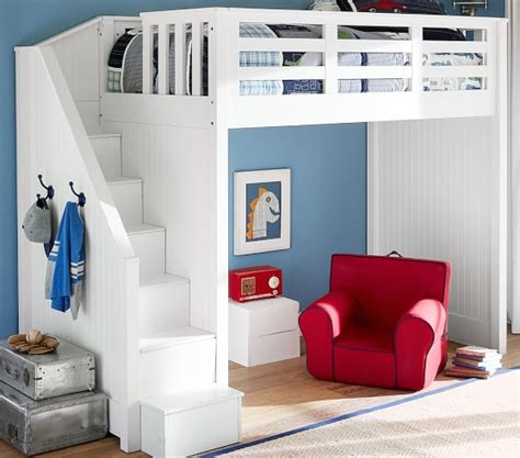 kids loft beds with stairs catalina stair loft bed pottery barn kids
