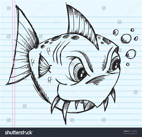 doodle meaning fish blue notebook doodle sketch tough fish vector