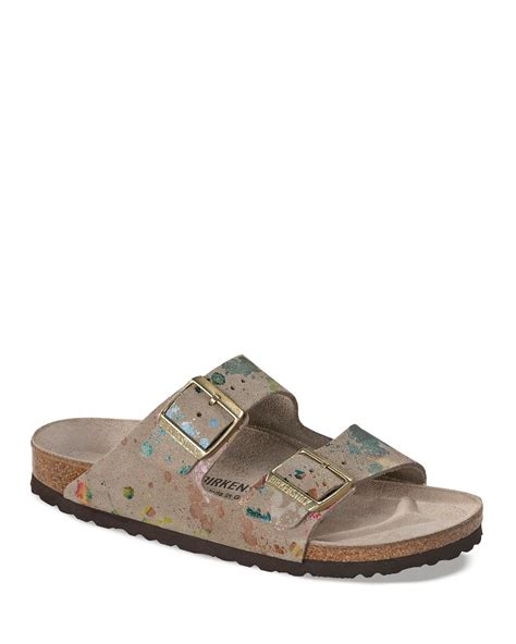 flowered birkenstock sandals birkenstock slide sandals flower crush arizona in brown